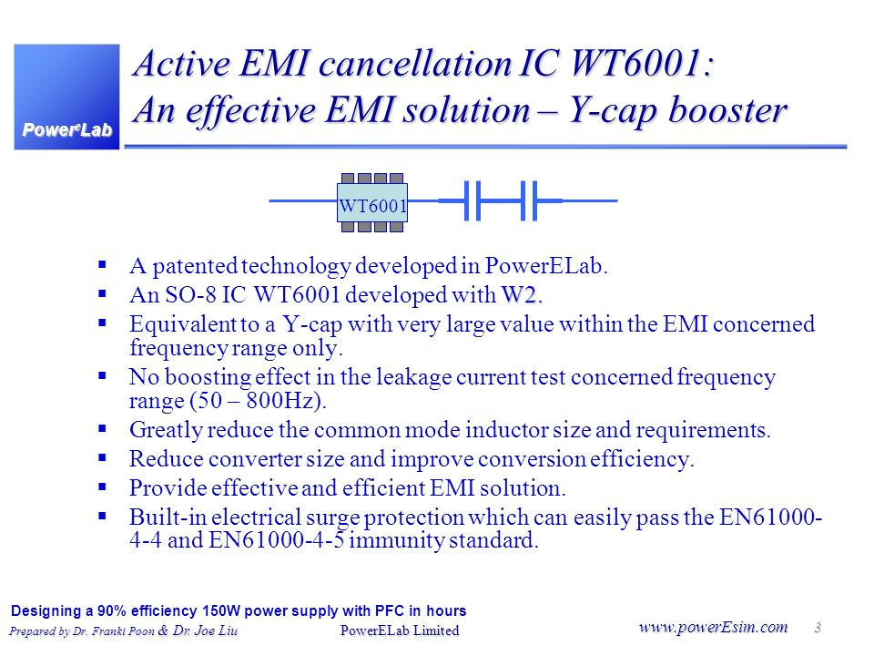Active EMI cancellation IC WT6001: An effective EMI solution – Y-cap booster