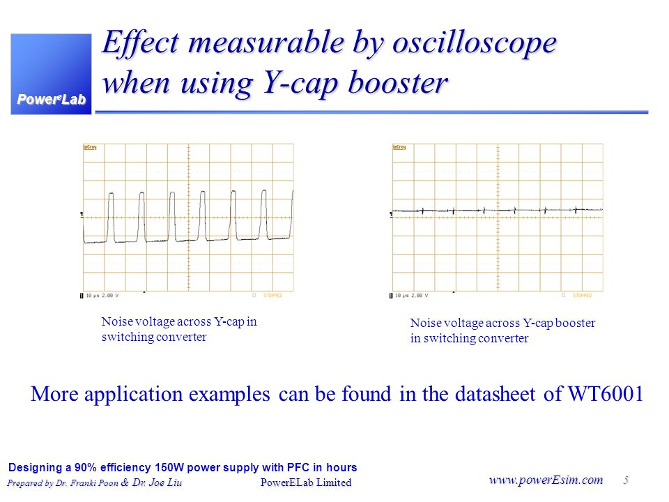 Effect measurable by oscilloscope when using Y-cap booster