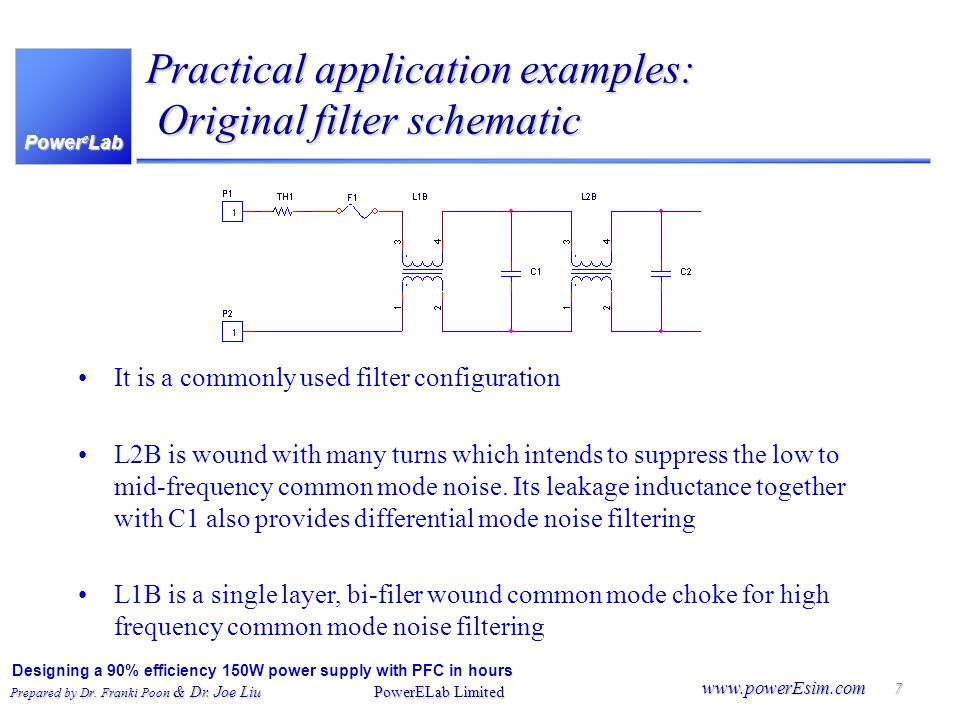 Practical application examples: Original filter schematic