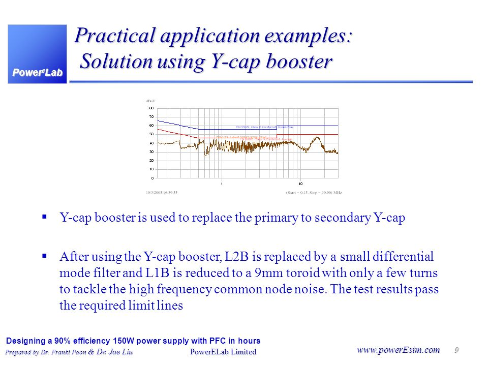 Practical application examples: Solution using Y-cap booster