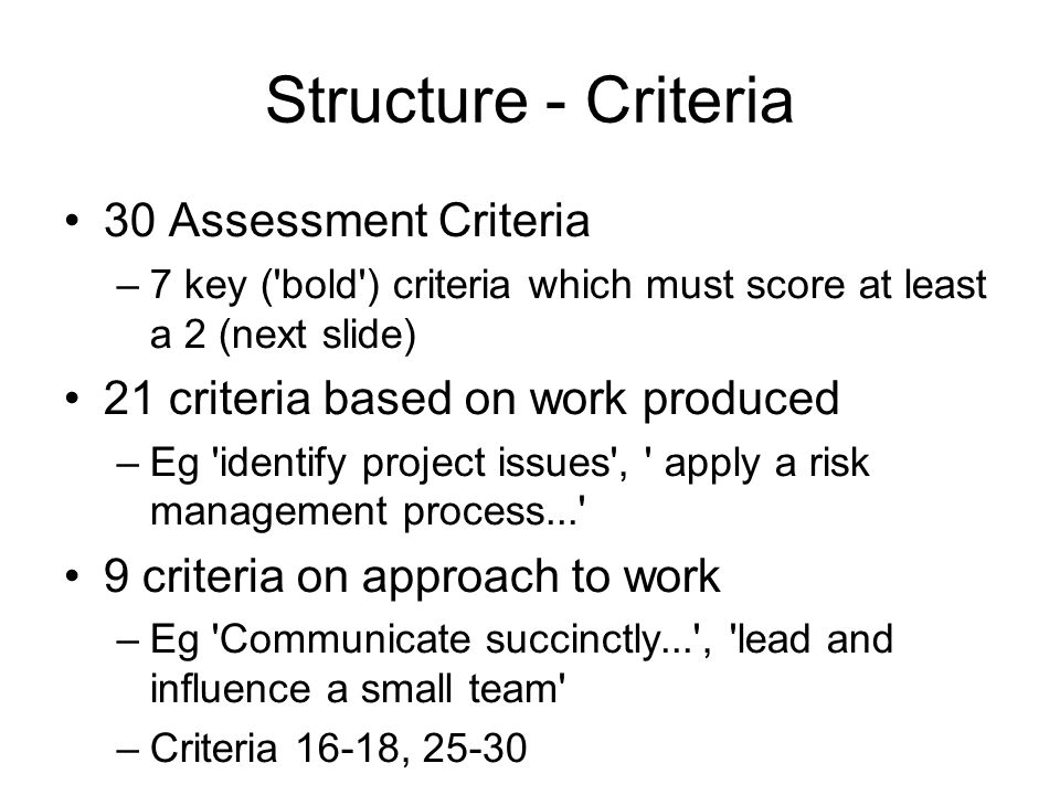 Structure - Criteria 30 Assessment Criteria