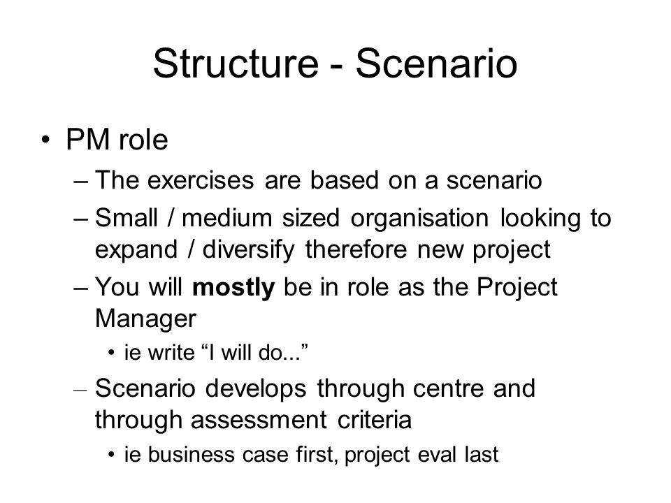 Structure - Scenario PM role The exercises are based on a scenario