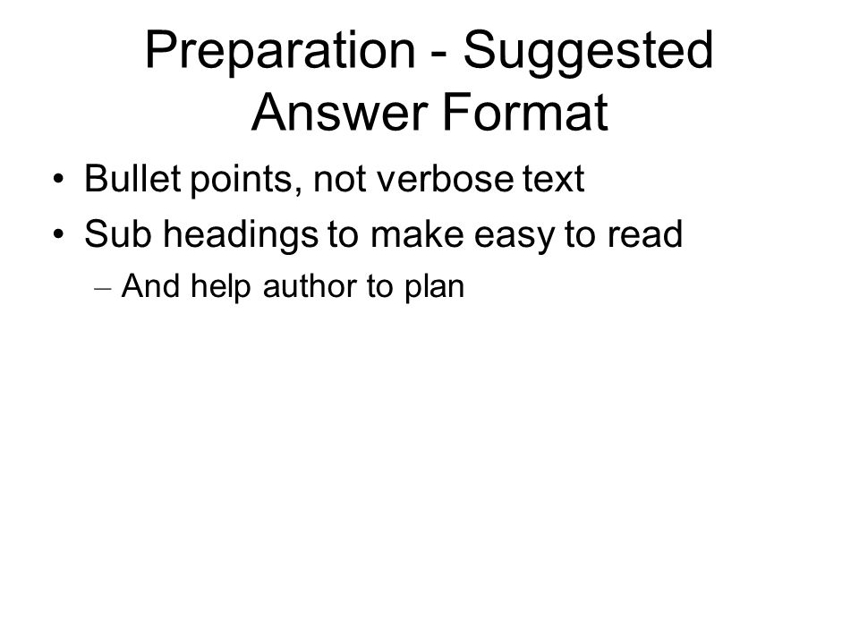 Preparation - Suggested Answer Format