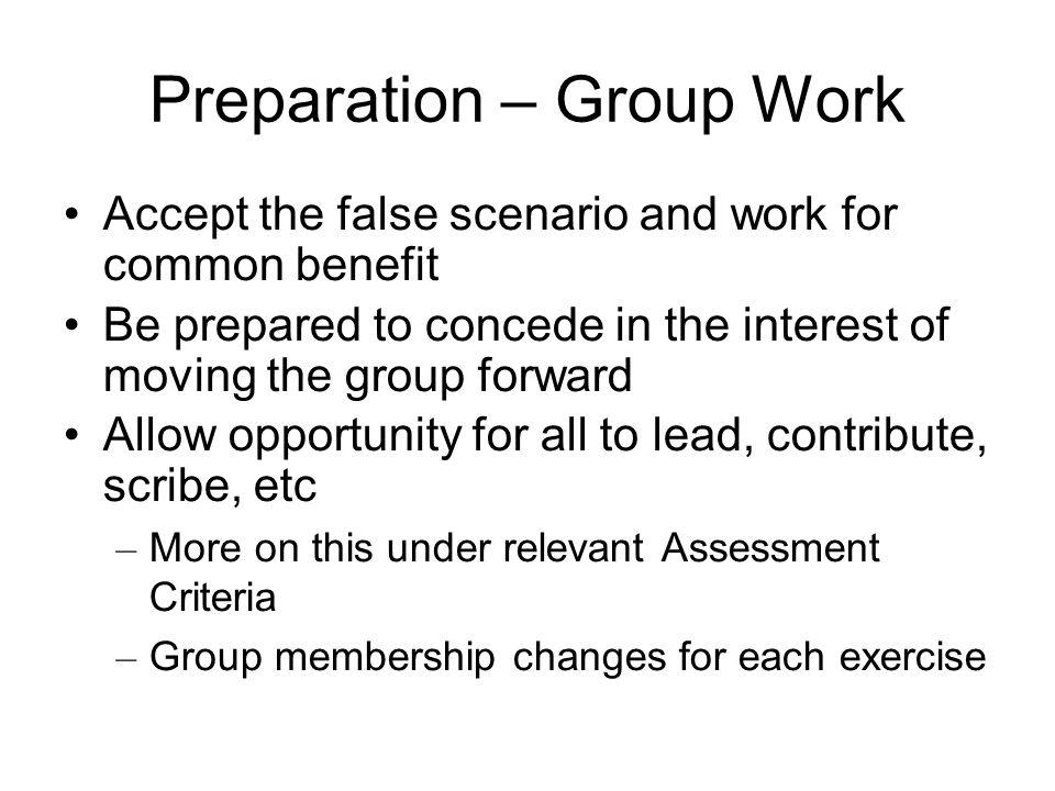 Preparation – Group Work