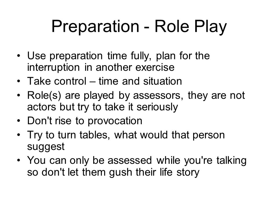 Preparation - Role Play
