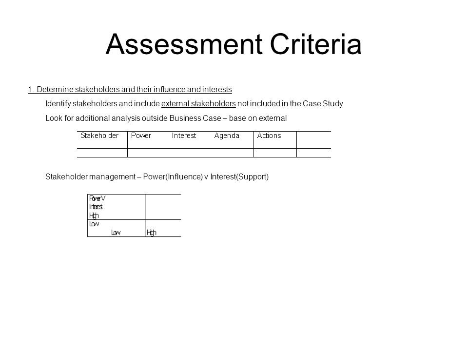 Assessment Criteria 1. Determine stakeholders and their influence and interests.