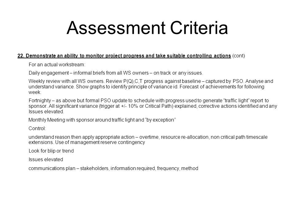 Assessment Criteria 22. Demonstrate an ability to monitor project progress and take suitable controlling actions (cont)