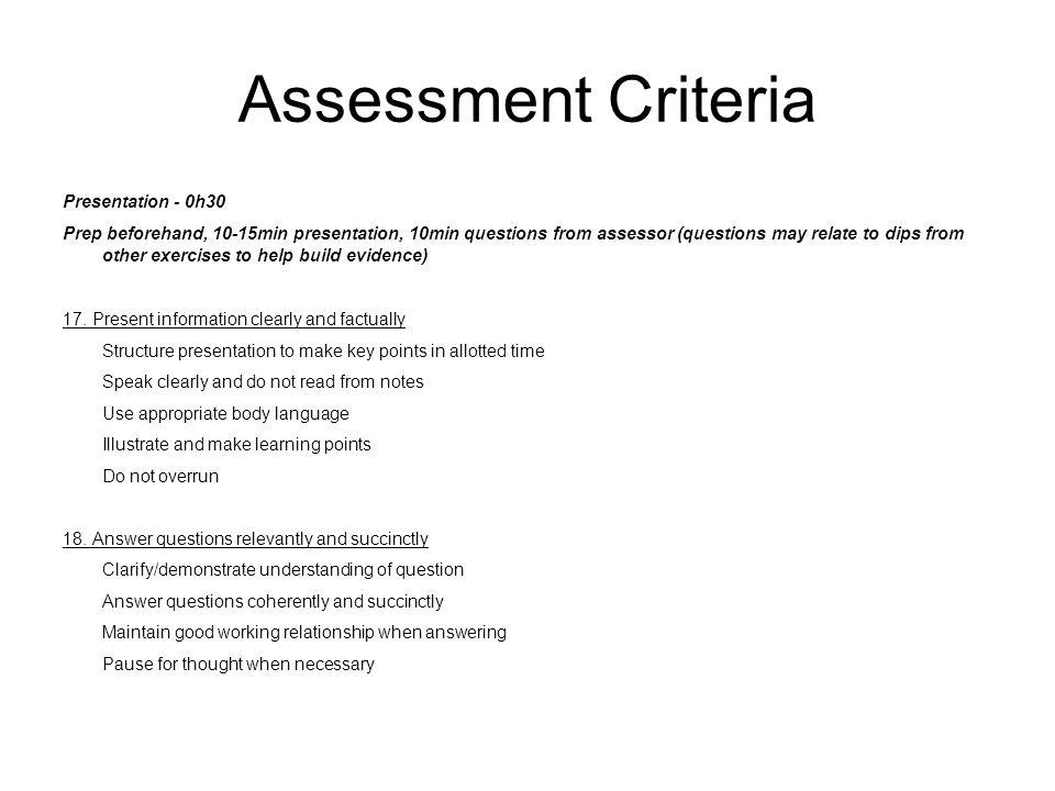 Assessment Criteria Presentation - 0h30