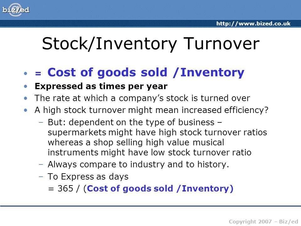 Stock/Inventory Turnover
