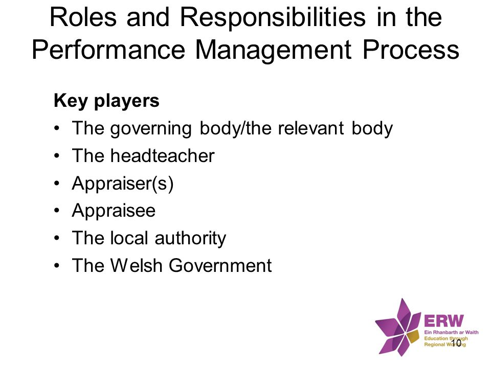 Roles and Responsibilities in the Performance Management Process