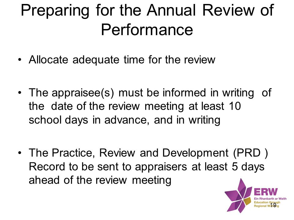 Preparing for the Annual Review of Performance