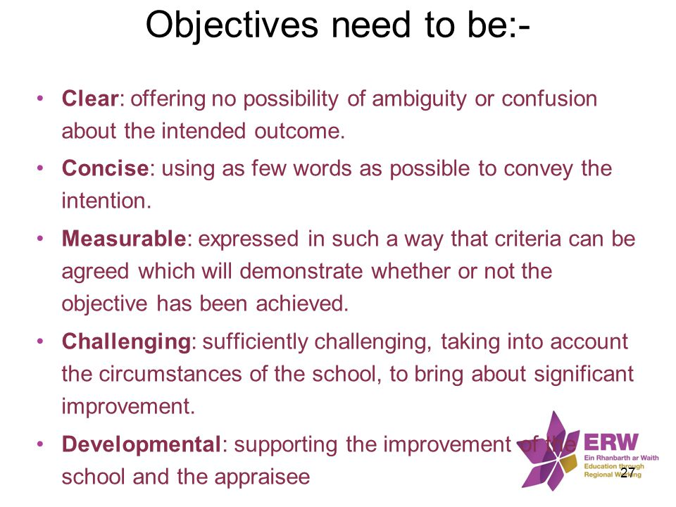 Objectives need to be:-
