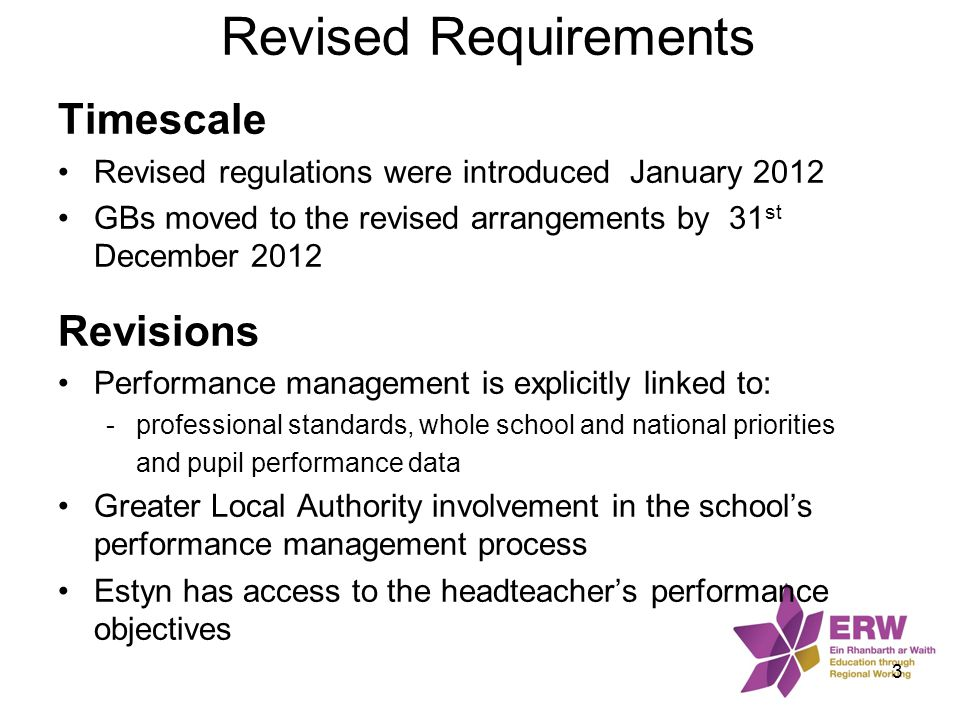 Revised Requirements Timescale Revisions
