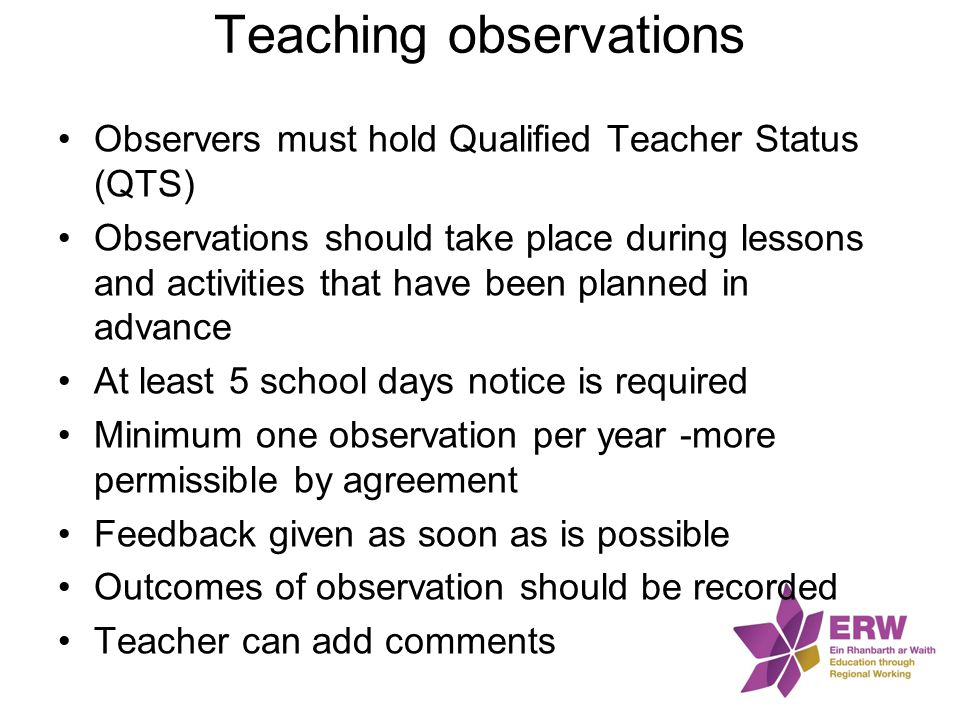Teaching observations