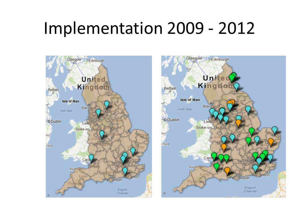 Implementation Left – blue = pilot sites
