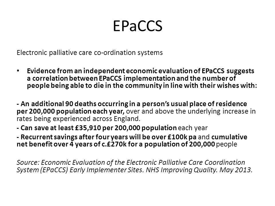 EPaCCS Electronic palliative care co-ordination systems