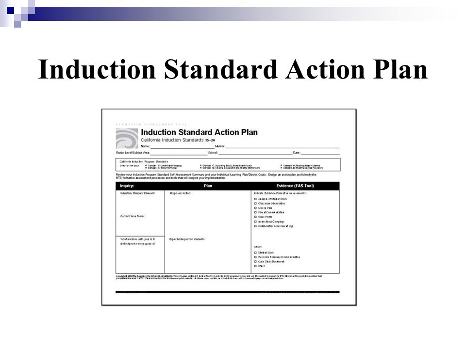 Induction Standard Action Plan