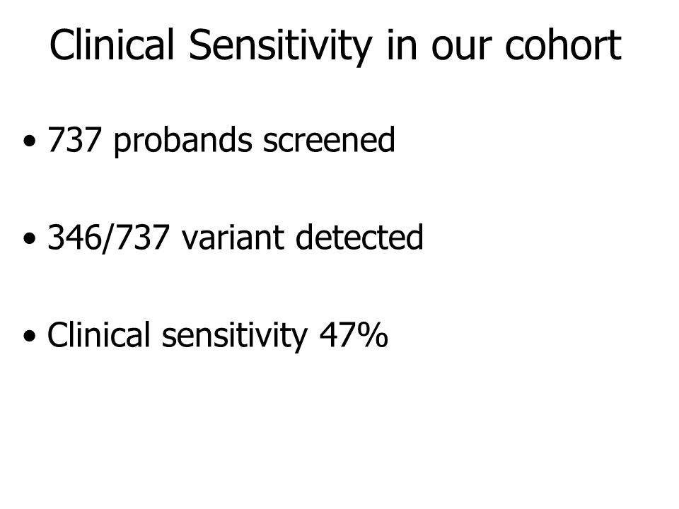 Clinical Sensitivity in our cohort