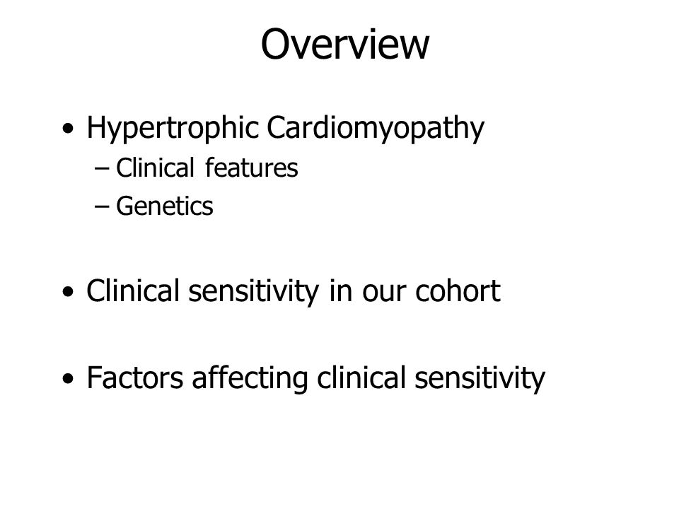 Overview Hypertrophic Cardiomyopathy
