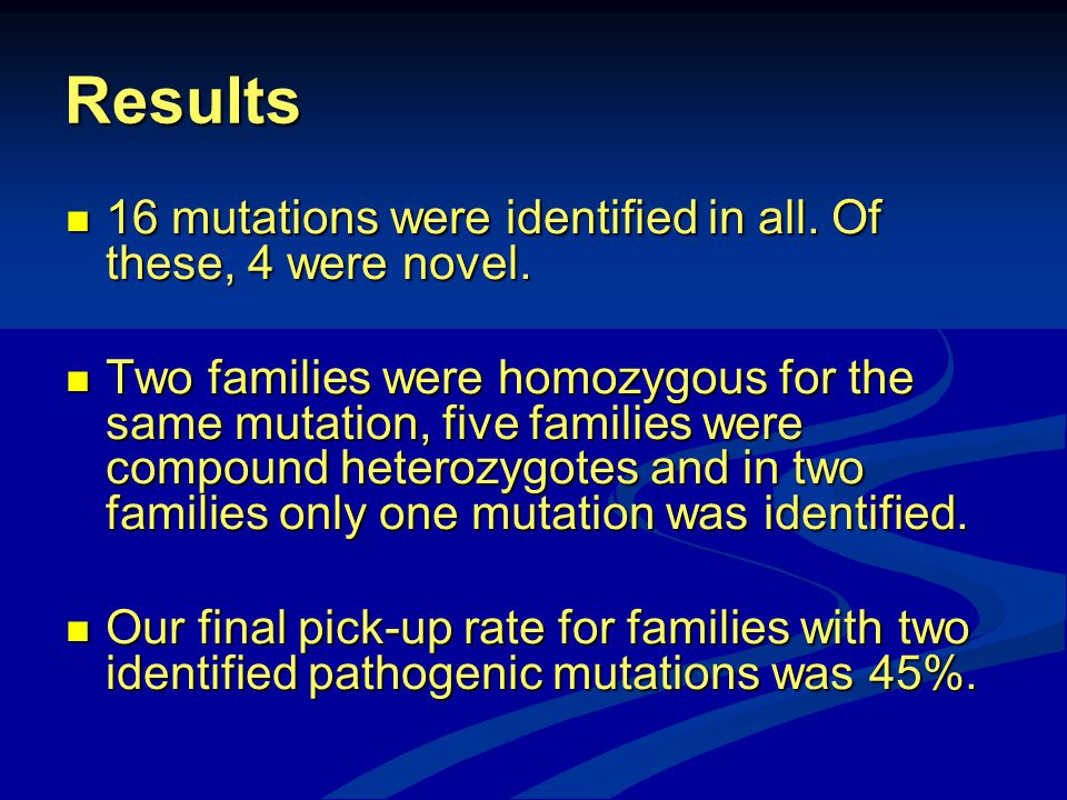 Results 16 mutations were identified in all. Of these, 4 were novel.