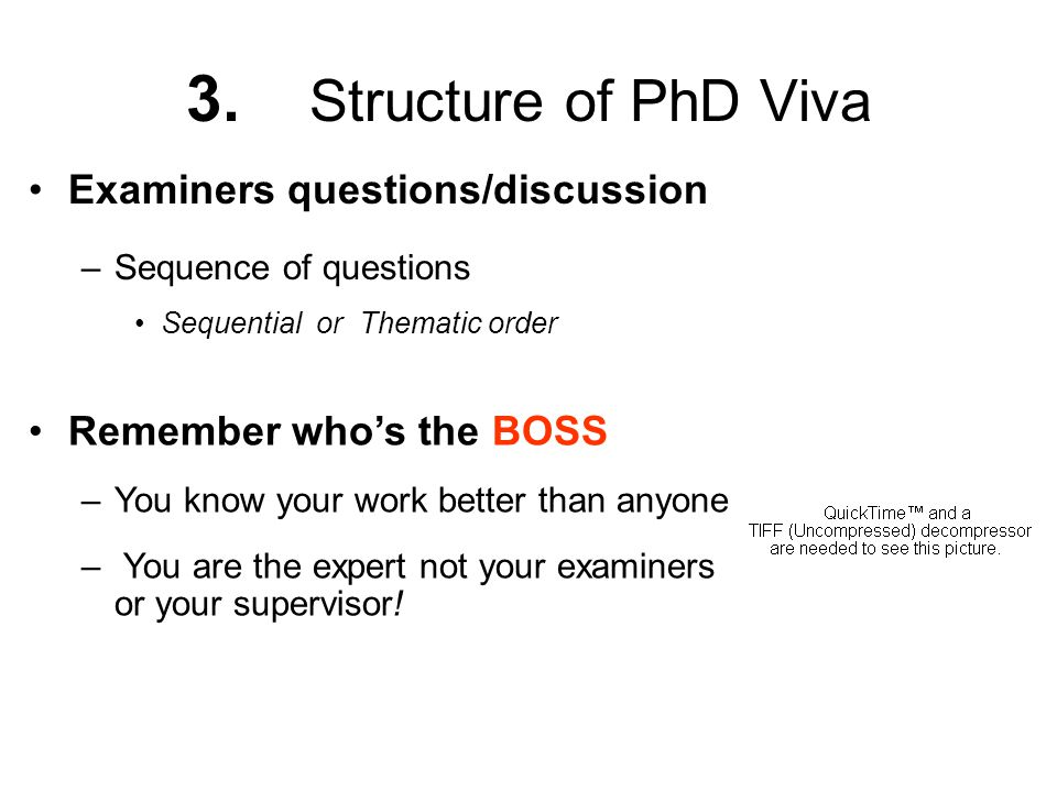3. Structure of PhD Viva Examiners questions/discussion
