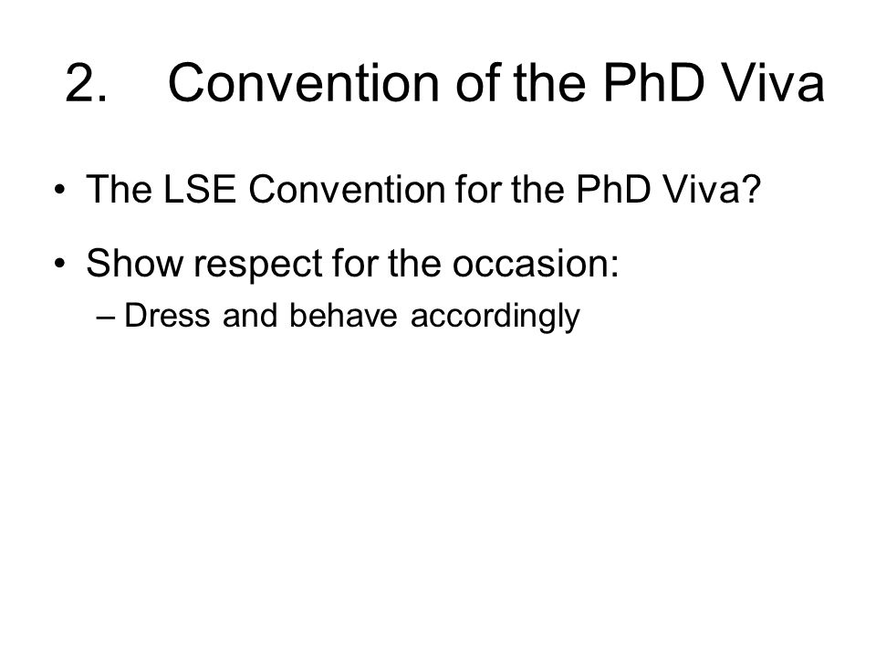 2. Convention of the PhD Viva