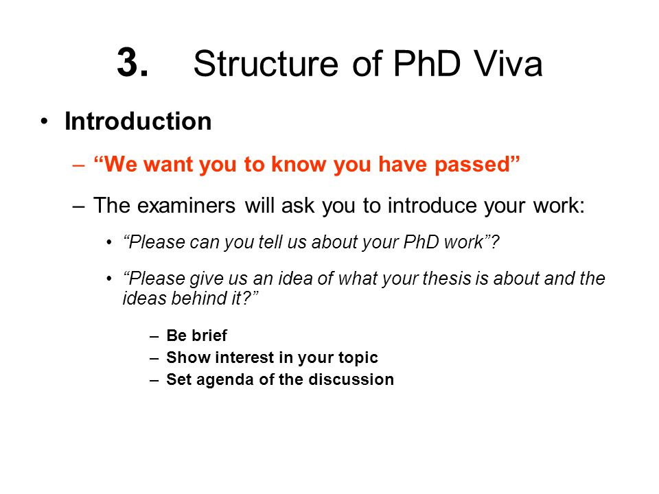 3. Structure of PhD Viva Introduction