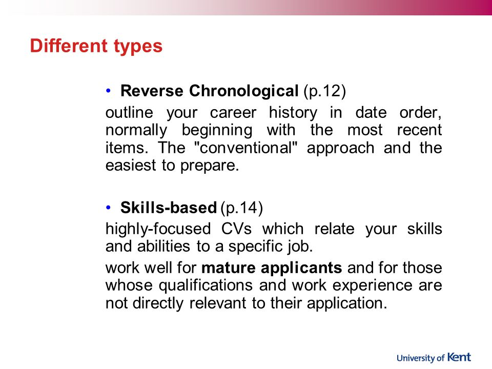 Different types Reverse Chronological (p.12)