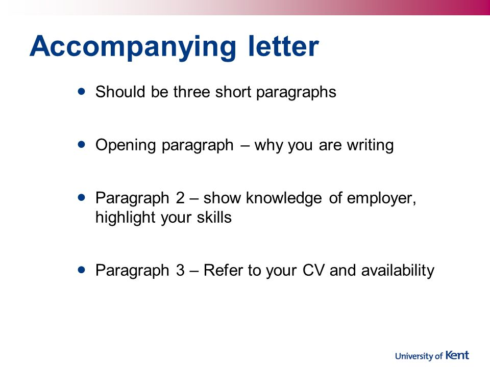 Accompanying letter Should be three short paragraphs