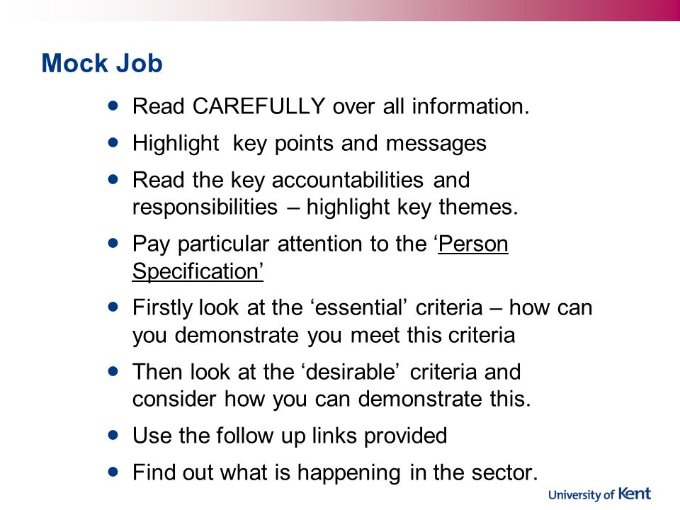 Mock Job Read CAREFULLY over all information.