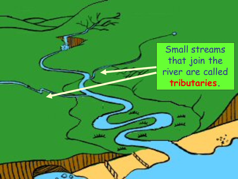 Small streams that join the river are called tributaries.