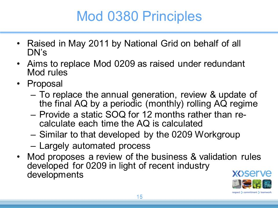 Mod 0380 Principles Raised in May 2011 by National Grid on behalf of all DN's. Aims to replace Mod 0209 as raised under redundant Mod rules.
