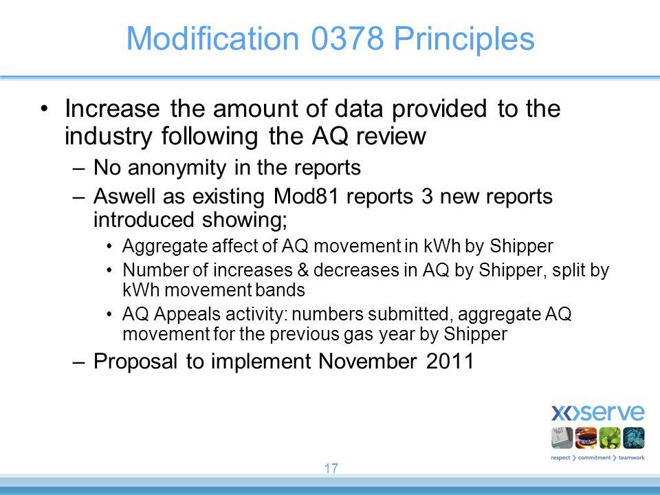 Modification 0378 Principles