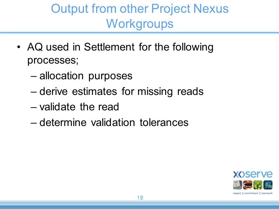 Output from other Project Nexus Workgroups