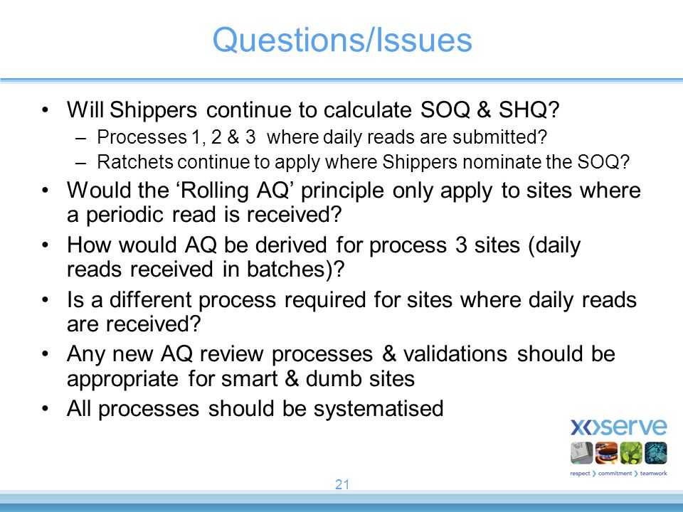 Questions/Issues Will Shippers continue to calculate SOQ & SHQ