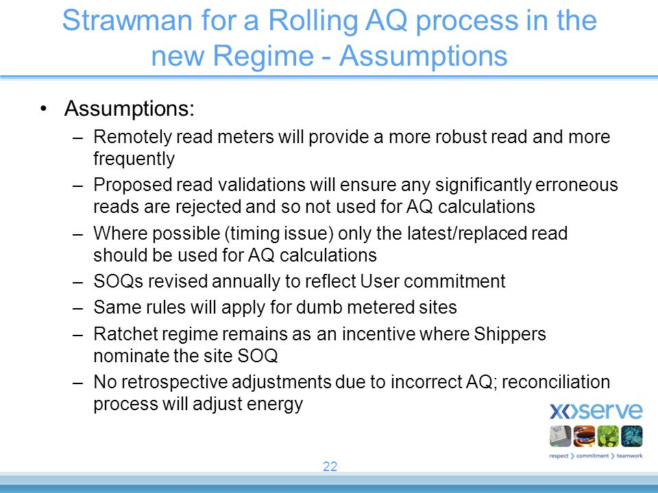 Strawman for a Rolling AQ process in the new Regime - Assumptions
