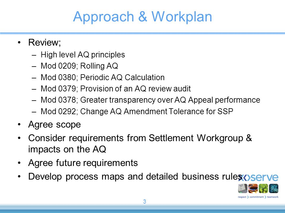 Approach & Workplan Review; Agree scope