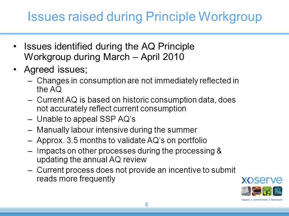 Issues raised during Principle Workgroup
