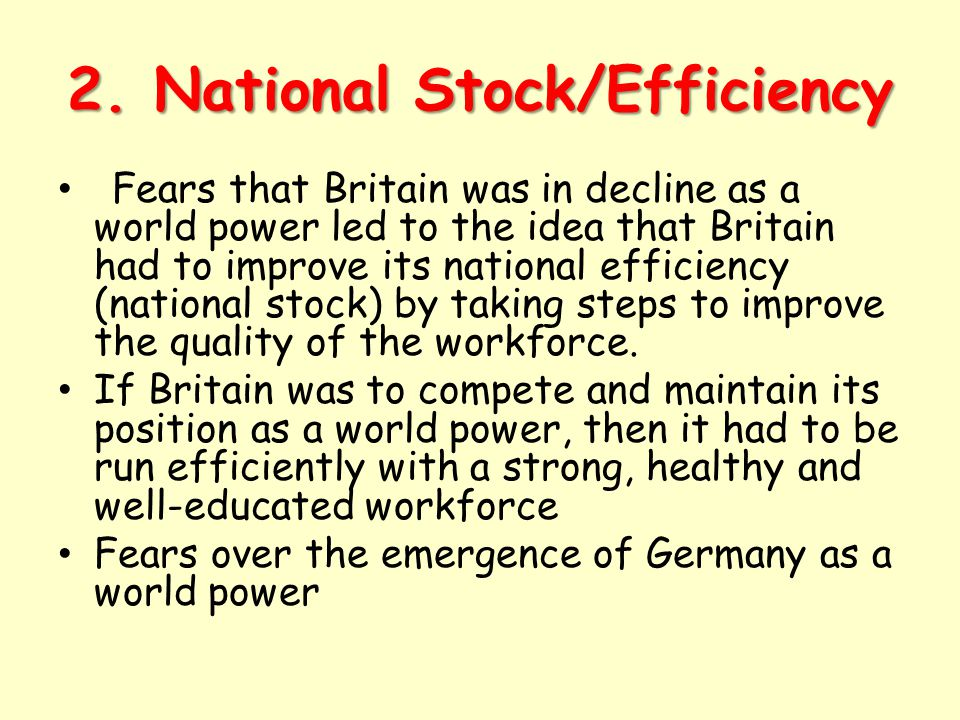 2. National Stock/Efficiency