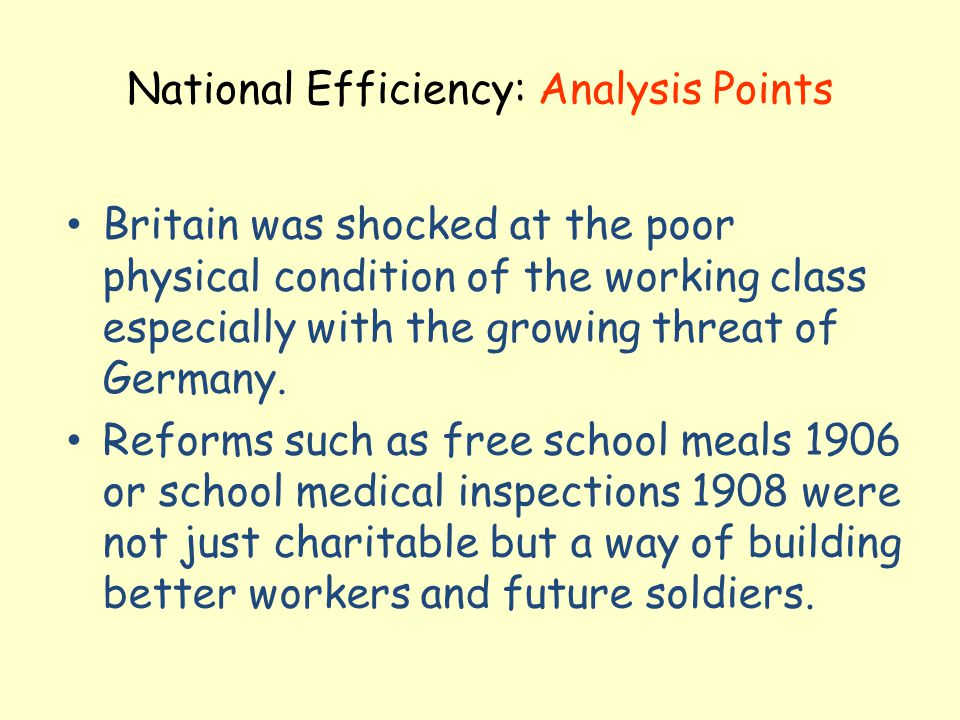 National Efficiency: Analysis Points