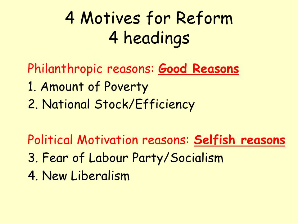 4 Motives for Reform 4 headings