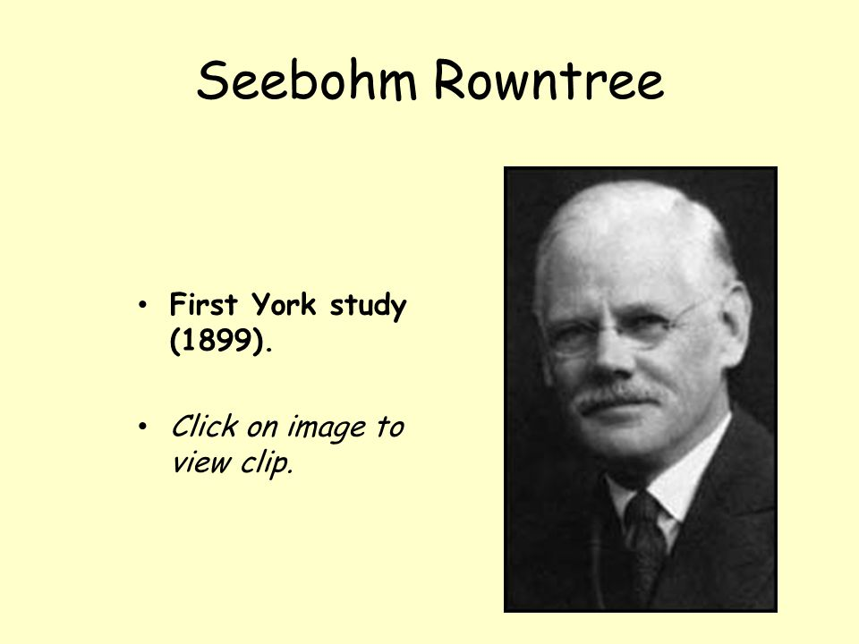 Seebohm Rowntree First York study (1899). Click on image to view clip.