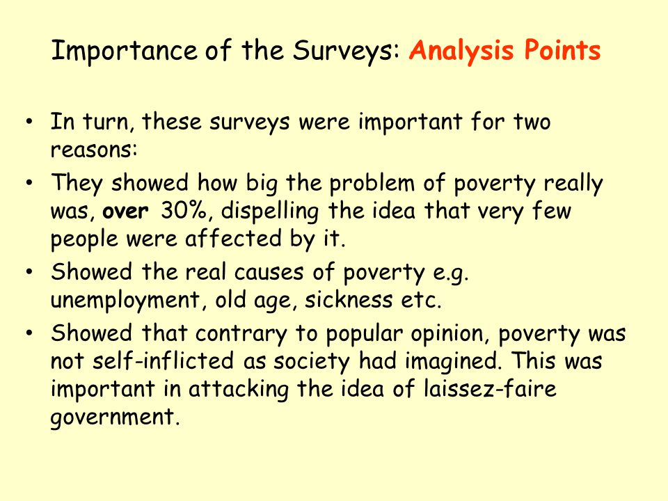 Importance of the Surveys: Analysis Points