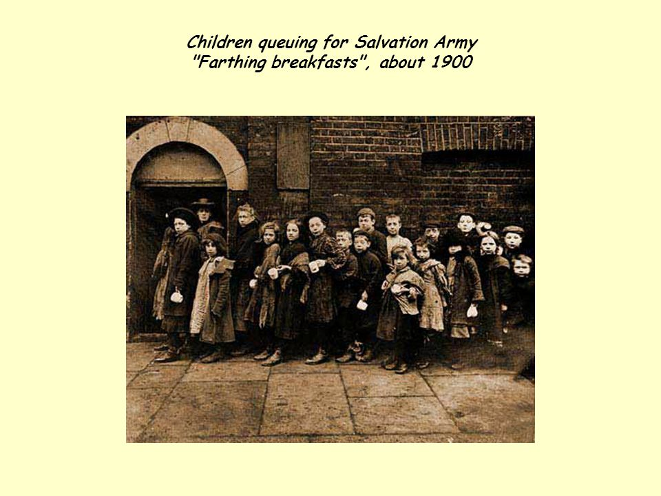 Children queuing for Salvation Army Farthing breakfasts , about 1900
