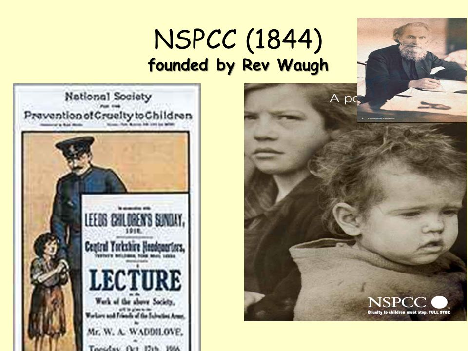 NSPCC (1844) founded by Rev Waugh