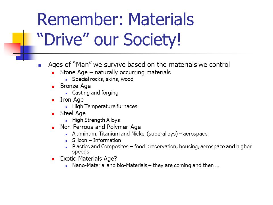 Remember: Materials Drive our Society!