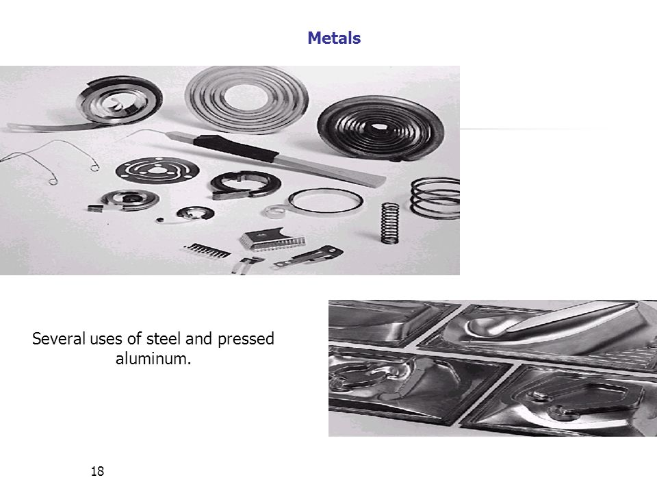 Several uses of steel and pressed aluminum.