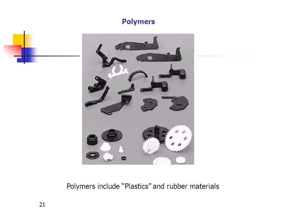 Polymers include Plastics and rubber materials