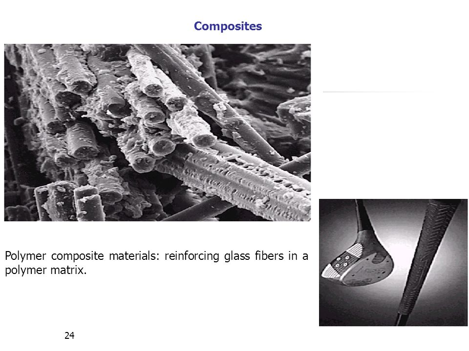 Composites Polymer composite materials: reinforcing glass fibers in a polymer matrix.