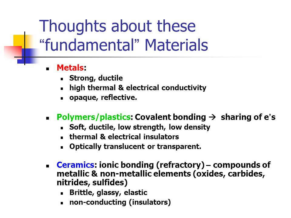 Thoughts about these fundamental Materials